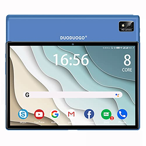 Tablet 10.1 Pulgadas, DUODUOGO Android 10 5G WiFi 4G LTE Tablet, 6GB RAM+128GB ROM, Octa-Core, Batería 7000mAh, Dual SIM, Dual Cámaras, GPS, OTG, Tablets Baratas y Buenas con Teclado, Azul