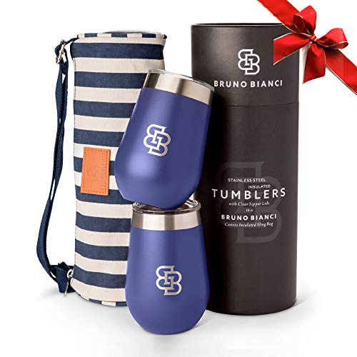 Wine Tumbler with Lid Insulated Set of 2 - Perfect Glft for women or men. Includes Portable Durable...