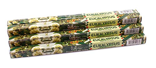 Luxflair Premium Räucherstäbchen Eukalyptus, XL Set mit 10 Packungen á 8 Räucherstäbchen (80 Stück), Lange Brenndauer von je ca. 45min