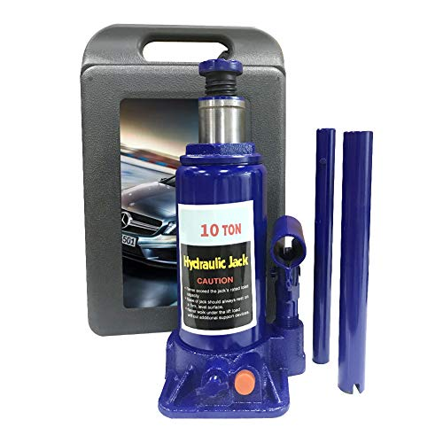 Portable Hydraulic Double Ram Welded Bottle Jack with Carrying Case, 10 Ton (20,000 lb) Capacity- Blue (10 Ton)