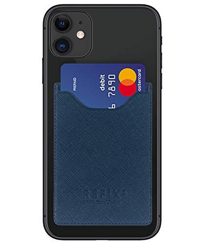 Refix Smartphone kaarthouder - zelfklevende creditcardhouder mobiele telefoon kaartvak kaarthouder - Phone Wallet portemonnee voor creditcards en contant geld - Compatibel met iPhone, Samsung, Huawei, navy