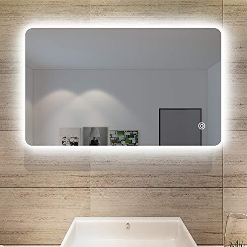 SONNI Badspiegel Lichtspiegel LED Spiegel Wandspiegel mit Touch-Schalter 100 x 60cm kaltweiß IP44 energiesparend