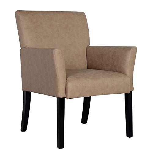 SixBros. 1010/7694 Esszimmerstuhl aus Kunstleder - Polsterstuhl mit Armlehne – Polstersessel in beige – Stuhl für Esszimmer Wohnzimmer Küche