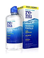 renu ADVANCED FORMULA: Our newest contact lens innovation, this multi-purpose solution has a triple disinfectant that works in only 4 hours to kill 99.9% of germs1. Hydrate your lenses for all-day comfort. MULTI-PURPOSE LENS SOLUTION: renu multipurpo...
