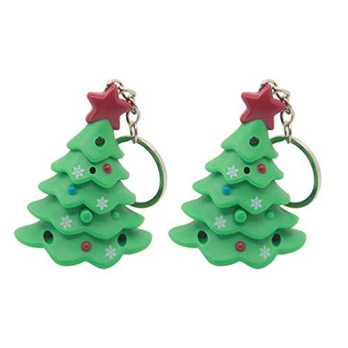 Amosfun 2pcs geführt leuchten Weihnachten keychains Schlüsselringen mit Weihnachtsbaumbeutel-Geldbeutel bezaubert Weihnachtsfestbevorzugungsgeschenkbeutelfüller