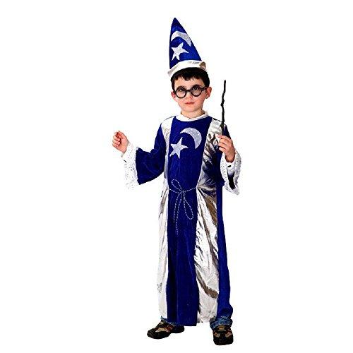 Costume - Travestimento - Carnevale - Halloween - Mago Merlino - Colore Blu e argento - Bambino Taglia M - 5-6 anni