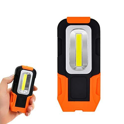Lampara LED Linterna Lampara de Trabajo COB LED Bateria Portatil Maglite Potente con Iman y Gancho Base Plegable para Trabajar, Camping, Emergencia 3 Pilas AAA No Incluidas de Enuotek