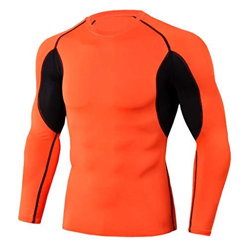 Funktionsshirt Herren Langarm Kanpola Patchwork Stretch FunktionsunterwäSche Compression Shirt Men Kompressionsshirt Wandershirt Atmungsaktiv Sweatshirt Laufshirt
