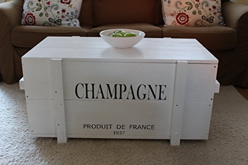 Uncle Joe´s Truhe Holzkiste Champagne, 85 x 45 x 46 cm, Holz, Weiss, Vintage, Shabby chic Couchtisch, 85x45x46 cm - 4