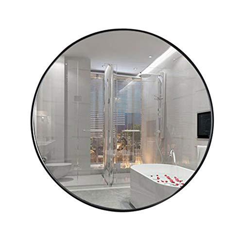 LQY Espejo Baño Nórdico, Espejos para Decoración Pared Espejo Cosmético Montado En La Pared Espejo Redondo Grande para Dormitorios, Hotel, Vestuario, Salón De Clubes,Negro,80cm