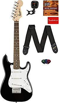 Fender Squier 3/4 Size Kids Mini Strat Electric Guitar Learn-to-Play Bundle with Tuner Strap Picks Fender Play Online Lessons and Austin Bazaar Instructional DVD - Black