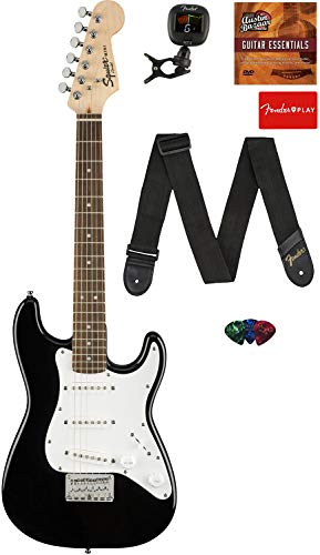 Fender Squier 3/4 Size Kids Mini Strat Electric Guitar Learn-to-Play Bundle with Tuner, Strap, Picks, Fender Play Online Lessons, and Austin Bazaar Instructional DVD - Black
