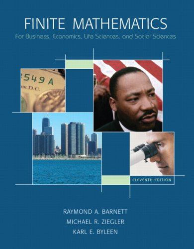 Compare Textbook Prices for Finite Mathematics for Business, Economics, Life Sciences and Social Sciences 11 Edition ISBN 9780132255707 by Barnett, Raymond A.,Ziegler, Michael R.,Byleen, Karl E.