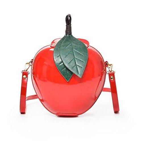 Longra Donna di moda pu pelle mela borsa cerniera sacchetto borsa tracolla tote Signore Messenger Bag (Rosso)