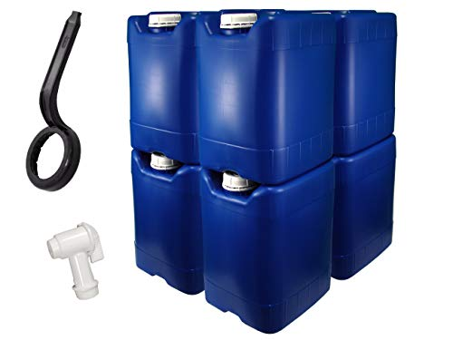 5 Gallon Samson Stackers, Blue, 8 Pack (40 Gallons), Emergency Water Storage Kit - New! - Boxed! Includes 1 Spigot and Cap Wrench