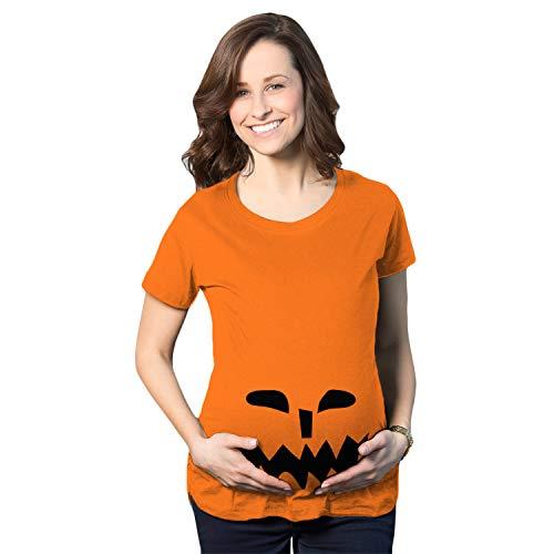 Crazy Dog Tshirts - Maternity Spikey Teeth Pumpkin Face Halloween Pregnancy Announcement T Shirt (Orange) - XL - Femme