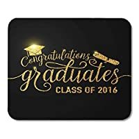 マウスパッド滑り止めゴールドブラック卒業おめでとうございます卒業生2016年クラスのきらめきパーティー用のきらびやかなサインマウスマットマウスパッド滑り止めノートブックデスクトップコンピューターに適しています