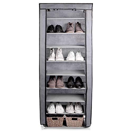 Zapatero de 10 niveles | Gabinete de calzado ligero | Unidad de almacenamiento de metal con cubierta de lona | Almacenamiento de calzado | Pukkr
