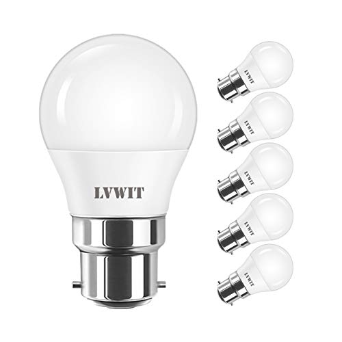 5W Ampoule LED B22 G45, LVWIT 470Lm Equivalente à 40W, 6500K Blanc Froid, Non-Dimmable, Lot de 6