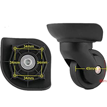 XiaoShiJie 360 Degree Swivel Luggage Mute Wheel Suitcase Replacement Repair Wheels Parts Spinner  DiLong W293#   A Pair/Set
