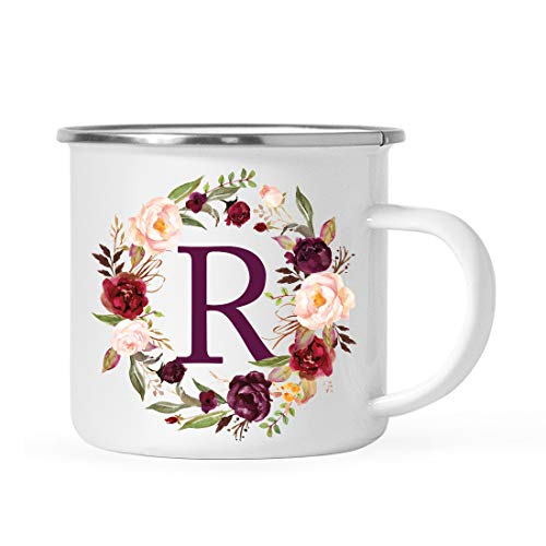 Andaz Press Stainless Steel 11oz. Campfire Coffee Mug Gift, Fall Autumn Burgundy Marsala Floral Wreath Monogram Initial Letter R, 1-Pack, Christmas Birthday Camping Camp Cup, Includes Gift Box