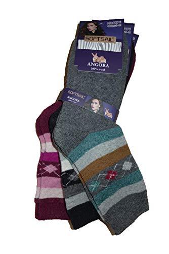 SOFTSAIL Damen Winter Angora Socken Strümpfe warm 3 Paar (Mod. 4, 39-42)