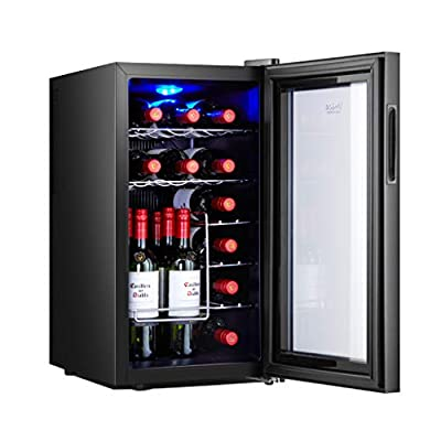 JCOCO 18 Bottles of thermoelectric Wine Cooler/Chiller | countertop red and White Wine Cellar | freestanding Refrigerator, Quiet Operating Refrigerator | Stainless Steel by JCOCO