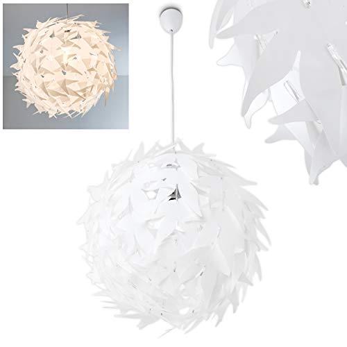 Pendelleuchte Dokkas, moderne Hängelampe aus Metall/Kunststoff in Weiß, Ø 45 cm, max. Höhe 120 cm (kürzbar), E27 max. 60 Watt, geeignet für LED Leuchtmittel