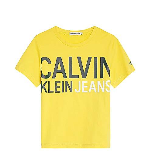 Calvin Klein IB0IB00348 Stamp Logo T-Shirt E Canotte Unisex Ragazzi Yellow 12Y