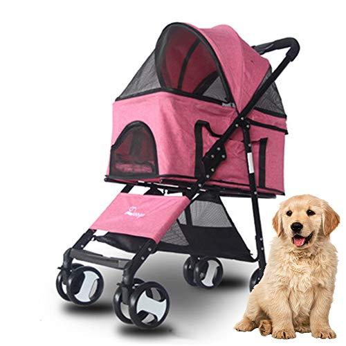 HIMAPETTR kinderwagen voor dieren, licht, opvouwbaar, multifunctioneel, met draaibare wielen, voor katten en honden