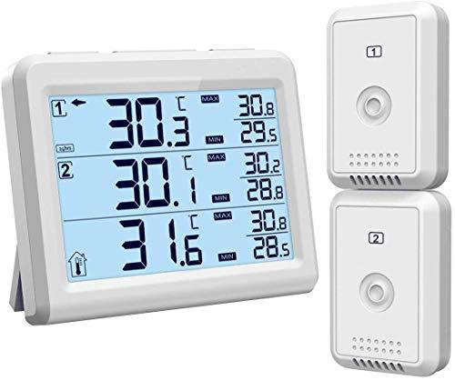 ORIA Kühlschrank Thermometer Gefrierschrank Thermometer, Kühlschrankthermometer mit Hintergrundbeleuchtung, 2 Sensor, Temperatur Alarm, MIN/MAX-Wert, Perfekt für Hause, Bars, Cafes