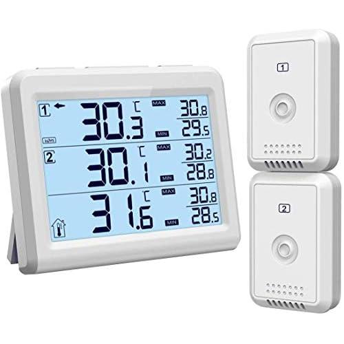 [Upgrade] ORIA Termometro Digitale per Frigorifero, Interno/Esterno Termometro con 2 Sensori Senza Fili e Allarme Acustico, Record Min/Max, Congelatore Termometro per Casa, Ristoranti, Caffè, ecc