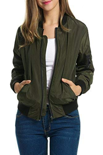 Zeagoo Womens Jacket Plus Size Bomber Jackets Lightweight with Pockets Zip Up Quilted Casual Coat Outwear(Army green, Large)