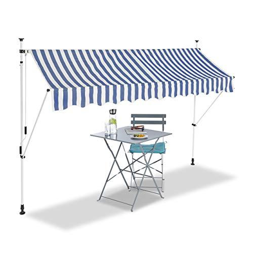 Relaxdays Tenda da Sole, Protezione per Il Balcone, Regolabile, Senza Forare, a Manovella, Larga 300 cm, a Righe Blu