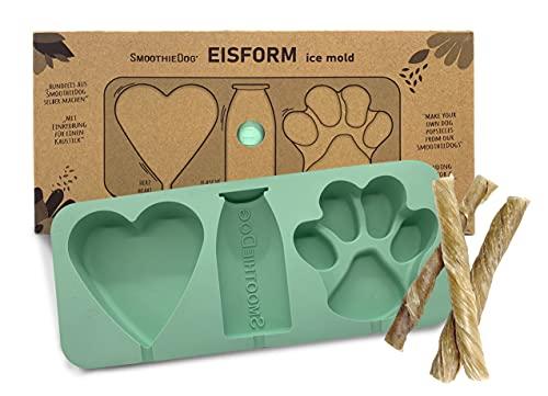 Eisform für Hundeeis aus Silikon- Herzform, Pfotenform, Flaschenform - BPA-frei, leichte Anwendung zum selbermachen - Eiswürfel