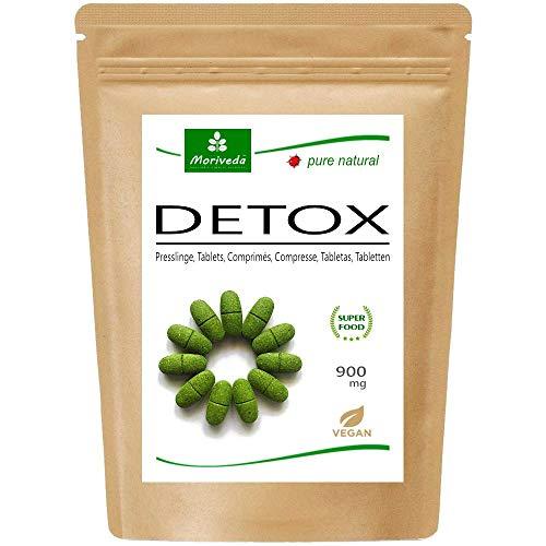 MoriVeda® Moringa Detox Tablets 900 mg I Moringa, linaza, hierba de cebada y espirulina como cura natural de purificación y desintoxicación I Vegano y sin gluten I 120 tabletas