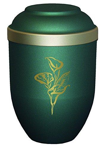 Urns UK Urne für Erwachsene, biologisch abbaubar, Bio-Lilien-Grün, Bambus, 18.5x18.5x28 cm