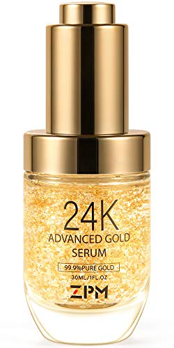 24K Gold Anti Aging Face Serum Moisturizer Enriched with Vitamin C Serum, Hyaluronic Acid, Vitamin E Cream for Day and Night Wrinkle Reduction, Re-activate Skin Youth (1FL.OZ)