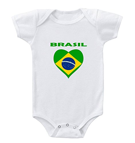 Heart Love Brasil Brazil Infant Toddler Baby Bodysuit One Piece Newborn White