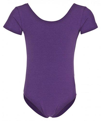 tanzmuster ® Ballettanzug Mädchen Kurzarm - Sally - (Größe 92-170) aus weichem Baumwollstoff Ballett Trikot Ballettbody in lila, Größe 116/122
