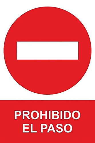 MovilCom - Señal de aluminio PROHIBIDO EL PASO 210X300mm Señal prohibición...