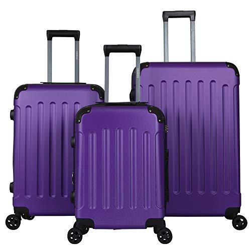 Arebos Premium - Juego de Maletas rígidas con Ruedas | Maletas de Viaje ampliables | Equipaje de Mano de Material ABS con candado TSA y 4 Ruedas | M+L+XL | Color Lila