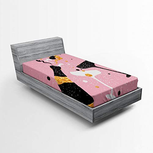 ABAKUHAUS Champagne Hoeslaken, Party Time Proost Bril, Zachte Decoratieve Stof Beddengoed, Elastische Band Rondom, 90x 190 cm, Pale Pink Marigold Black