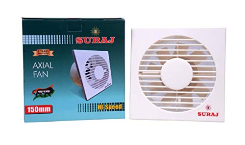 Store Suraj Axial 150 Mm Plastic Exhaust Fan for Home/Kitchen/Offices/Hotels/Clinics/Schools (15 Inch, White)