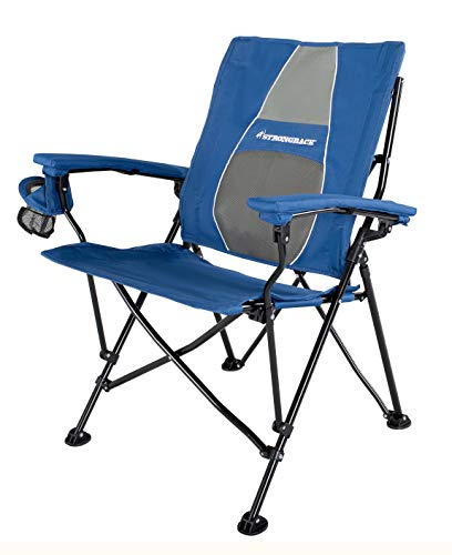 STRONGBACK Elite Folding Camping Chair with Lumbar Support, Navy/Grey