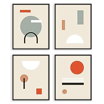 W.O.W.A - Geometric Wall Art Prints | Set of 4 Modern Minimal and Natural Wall Art Prints | Earth Tone Boho Foliage Line Art Drawing with Abstract Shape | Modern Abstract Plant Art  8 x10  UNFRAMED