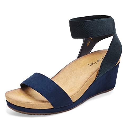 DREAM PAIRS Women's Navy Open Toe Elastic Ankle Strap Platform Wedge Sandals Size 9 M US Nini-5