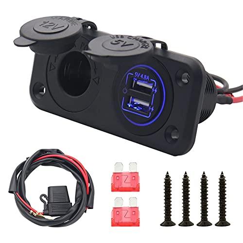 Cargador de coche, Carga rápida del interruptor del tacto del cargador del USB de 5V 4.8A con enchufe hembra para encendedor de cigarrillos de 3,3 pies Luz azul del cable de alimentación para camión