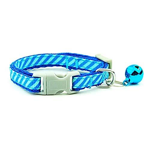 QWERTYU Hundehalsband Kleines HaustierVerstellbares Katzenhalsband mit Welpenhalskette für Katzen Kleines Hundehaustierzubehör Haustierzubehör, Blauer Streifen, XS - 0,8 cm
