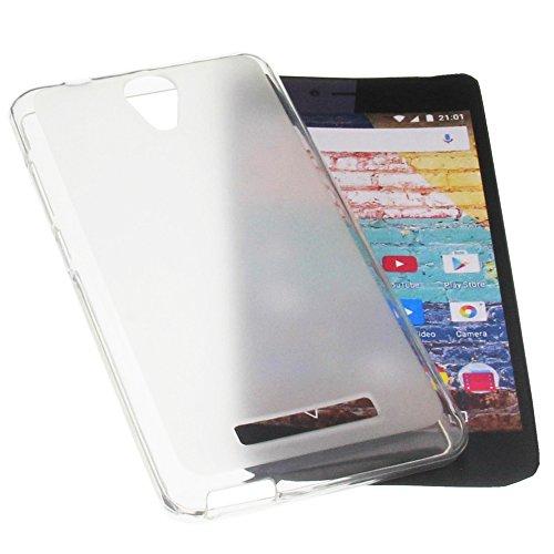 foto-kontor Tasche für Archos 50e Neon Gummi TPU Schutz Handytasche transparent weiß